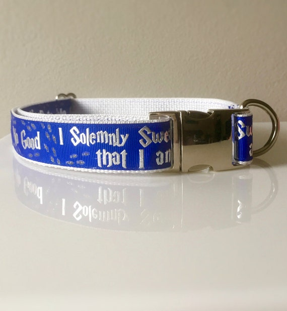 Harry Potter Dog Collar With Metal Buckle Blue Red Or