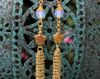 Moonstone Tassel Earrings