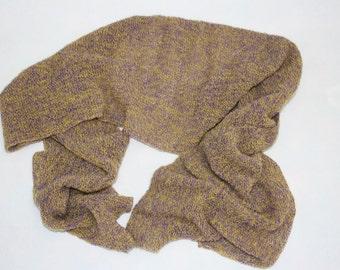 Sciarpa misto lana prodotta in Italia colori giallo-viola, leggera e morbidissima