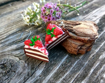 Polymer cakes Fruit earrings Strawberry cake Food jewelry Miniature food Birthday cake Sweet earrings Strawberry Gifts for girlfriend Gifts