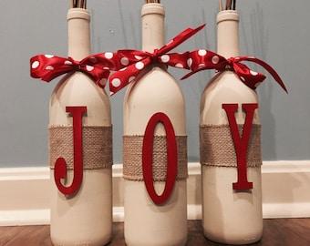 Joy Wine Bottle- Joy Home Decor- Christmas Decor- Holiday Decor- Joy Decor- Wine Bottle Set