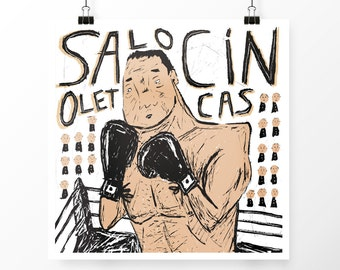 "Box in Silk-screen ""Salocin Olet Cas""."