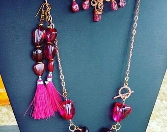SALE!!! Cherry quartz tassle earrings