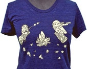 CAMPFIRE OWLS shirt woodland clothing owl tshirt forest shirt soft t shirt vintage style t-shirt ladies shirts