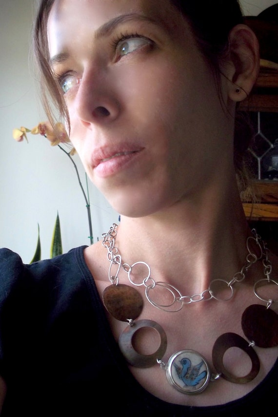 Bohemian Hammered Copper, Silver and Ceramic Bib Necklace - Vintage handpainted ceramic bird focal point