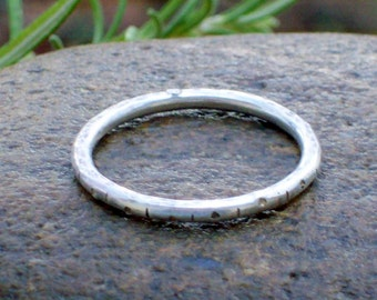 Sterling Silver Ring - Stacking Silver Ring - Stackable Silver Rings - Textured and Oxidized Silver Ring
