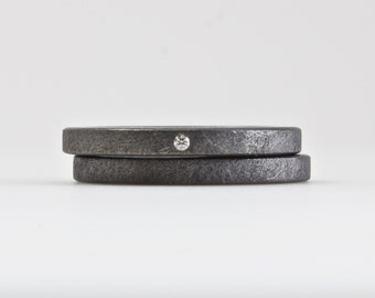 Oxidized One Tiny Diamond Ring Set - Modern Engagement Rings - Rough Finish Eco Friendly Sterling Silver