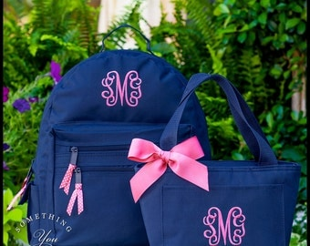 Monogrammed BACKPACK and LUNCHBOX, Personalized Solid Color Back to School Set, Monogrammed Girls Backpacks, School Bags, set of 2