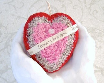 Silk Heart with Message - Deluxe Tapestry Heart Shaped Ornament - I Love You Gift for Her - Valentine Heart Decor Gift for Daughter STH03