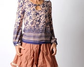Blue floral loose top with long gathered sleeves, blue and pale pink top, flowers, hearts and stripes