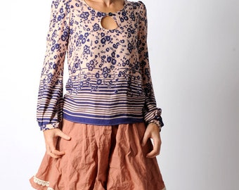 Blue floral loose top with long gathered sleeves, blue and pale pink top, flowers, hearts and stripes, MALAM