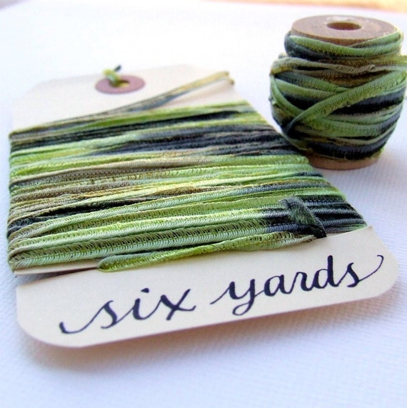 Mossy Forest Green Seamed String, SIX yards soft, stretchy ribbon for gift wrapping, shop packaging, paper crafting