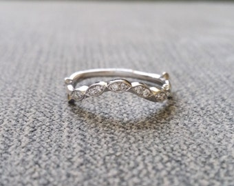 "Diamond Branch and Nest Wedding Band Vine Nature Branch Antique Vintage Leaf 14K White Gold  ""The Nest"""