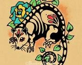 Day of the Dead POSSUM Mexican Folk Art Dia de los Muertos Opossum Print 5 x 7, 8 x 10 or 11 x 14