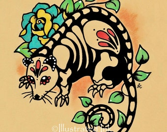 Day of the Dead POSSUM Mexican Folk Art Dia de los Muertos Opossum Print 5 x 7, 8 x 10 or 11 x 14
