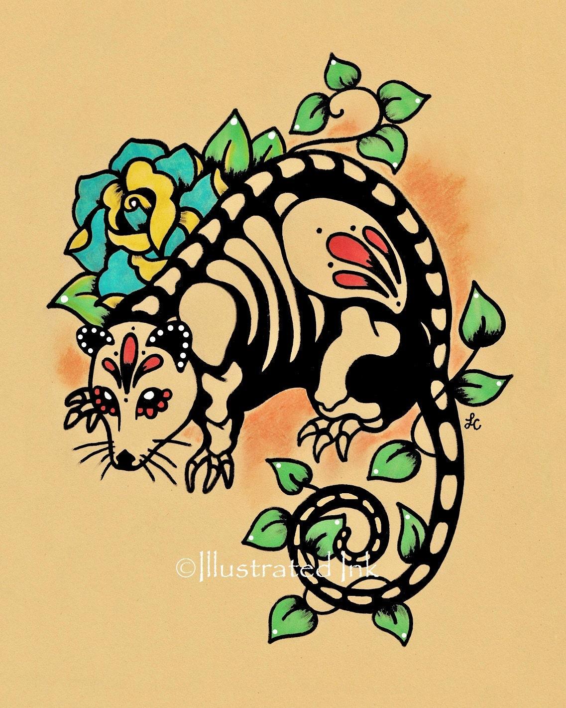 day of the dead possum mexican folk art dia de los muertos. Black Bedroom Furniture Sets. Home Design Ideas