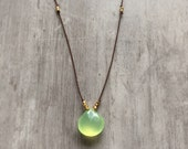 Hand Knotted Green Chalcedony and Gold Vermeil Beads on Silk Cord Necklace