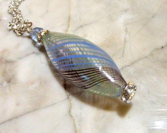 Blown Glass Hollow Bicone Blue/lime Swirl Silver Pendant Nc2227 - Light weight necklace SRA by Lynn