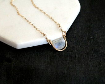Moonstone necklace, Rainbow Moonstone choker white and gold Vitrine Designs Rockpool Necklace