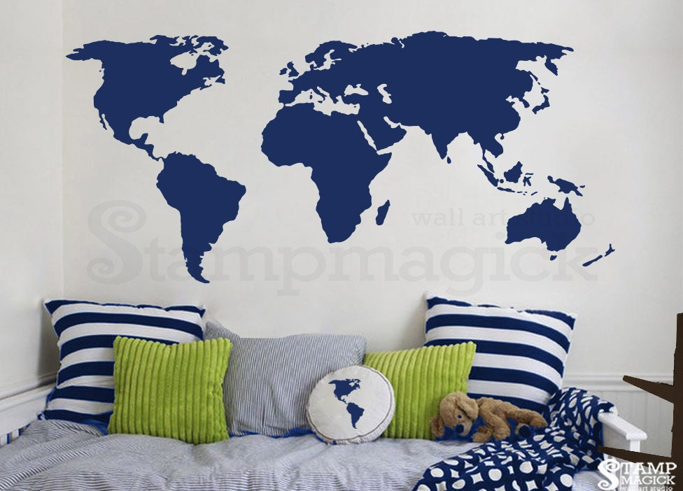 world map wall decal world map decal vinyl wall by stampmagick pics photos world map wall stickers
