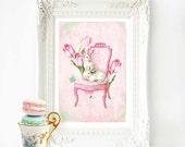 Rabbit print, nursery print, pink, baby girl nursery, wall art, mint green, tulips, butterflies, Regency chair, vintage rabbit, home decor