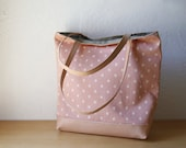 Leather Bottom Tote in Blush Pink