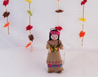 Thanksgiving Decoration  Felt Art Doll Hanging Ornament Indian Boy or Gilr