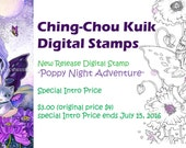 Intro Price! 『Poppy Night Adventure』 Digital Stamp Instant Download / Animal Cat Poppy Flower Fantasy Butterful Fairy Art by Ching-Chou Kuik