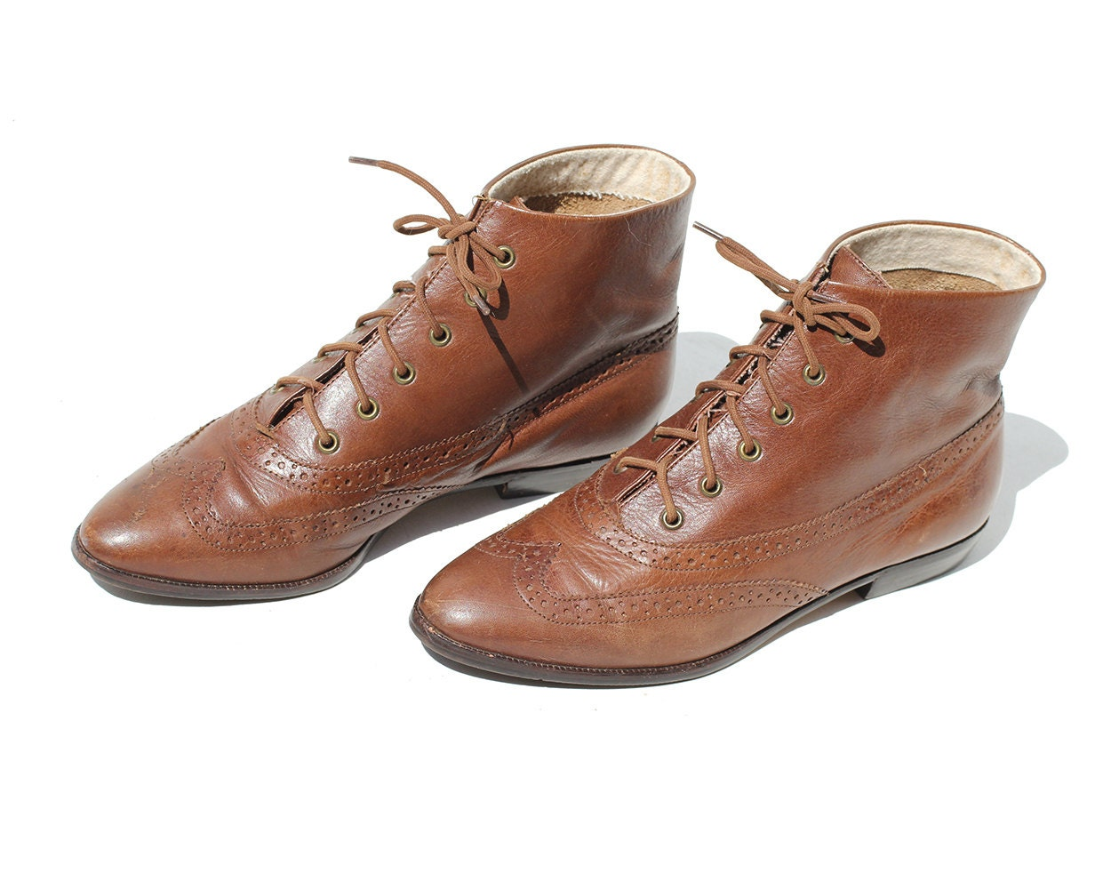 vintage brown leather ankle boots punched leather boots