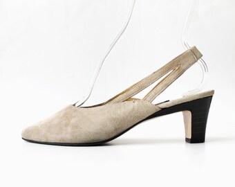 1990's ESCADA Tan Suede Slingback Heels