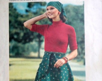 Vintage 70's Butterick 3768 Sewing Pattern, Misses' Wrap-and-Go Skirt, Easy To Sew, Retro 1970's Fashion, Size Medium, 26.5-28 Waist