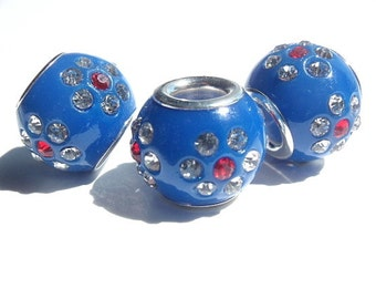 1 Rhinestone Bead, Jewelry Making Supply, European Style, pave Set Rhinestones in Blue Resin Base