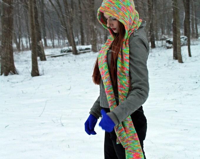 Pastel Rainbow Hooded Scarf Snood Skoodie