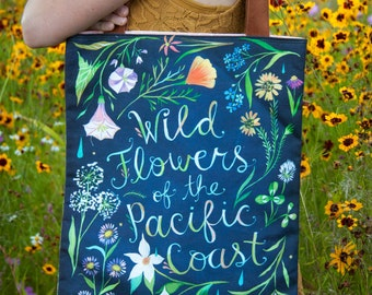 Pacific Coast Wildflowers - Handmade Cotton/Linen Tote Bag
