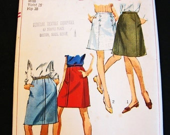 1960s A Line Skirt Pattern Misses size Waist 28 Simplicity Pattern Aline Skirt Sewing Pattern