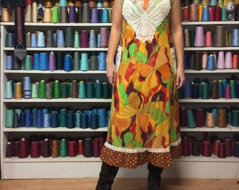 S/M Butterfly Print Halter Dress with Pockets/Long Hippie Dress/Long Festival Dress/Summer Sundress/Upcycled Recycled Repurposed
