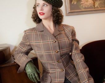 Vintage 1950s Jacket - Stylish Cocoa Brown Wool with Orange Windowpane Plaid 50s New Look Suit Jacket