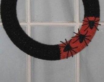 Halloween Wreath Black Orange Spiders Decoration