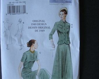 Unused Vintage Vogue Pattern 9052 Original 1949 Design Reissued Dress Belt and Jacket Size B5 8 10 12 14 16 Bust 34 36 38 Factory Folded