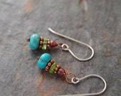 Garnet, Peridot and Turquoise Earrings