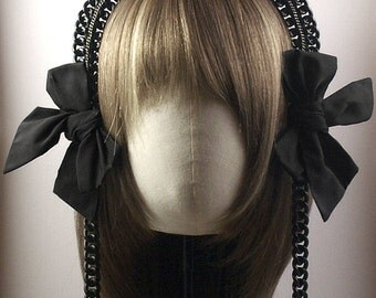 Early Victorian Style Mourning Tiara with Braided Chains & Bows
