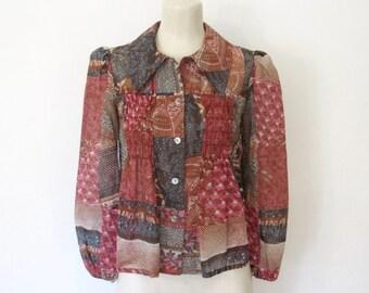 Vintage 1970s Byer California Boho Blouse / Batik Print Babydoll Shirt / 70s Hippie Button-down Top