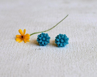 Teal Flower Chrysanthemum Earring Posts- Titanium Flower Earrings- Contains No Nickle- Great For Sensitive Ears