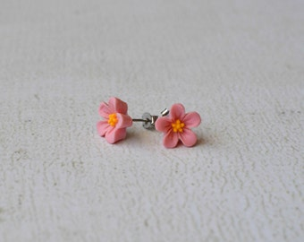 Pink Hibiscus Earring Posts- Titanium Hibiscus Flower Earrings- Contains No Nickle- Great For Sensitive Ears