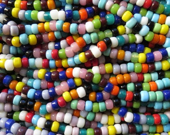 9x6mm (3mm hole) Opaque Color Mixed Glass Crow Beads 24 Inch Strand (AW313)