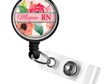 Watercolor Floral ID Badge Reel Holder Style 648