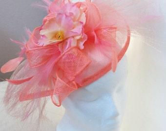 Kentucky Derby Watermelon Pink Coral Fascinator   Wedding Hat PINK HORSEHAIR