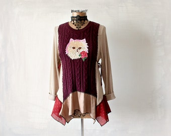 Women's Cat Shirt Cableknit Sweater Artsy Unique Top Winter Long Sleeve Boho Style Clothes Recycled Clothing Lagenlook Tunic Top M 'MARILU'