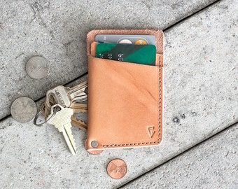 """Minimal Leather Wallet  // """"slim"""" by fullgive in natural"""