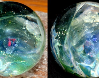 Encased Black Opal Cube in a Cobalt Sparkly Stardust Universe with Opal Chunks Marble - Handblown Glass